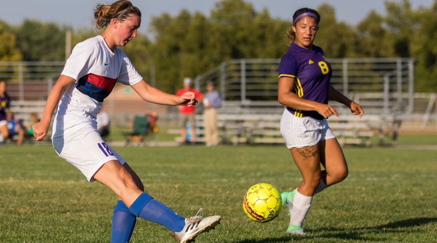 Ariel Wolff scored the game winner in the 75th minute of a 4-0 Blue Dragon Women's Soccer victory over Hesston College on Saturday in Hesston (Allie Schwiezer/Blue Dragon Sports Information)