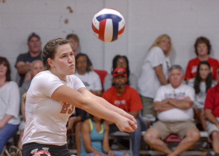 Amy Tyma had 10 kills and 12 digs in Saturday's loss at Centre. (Photo by Julie Bennett/juliebennettphoto.com)