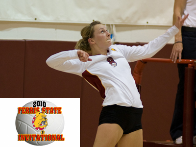 Ashley Huntey's 14 kills against Glenville State helped Ferris State improve to 2-0 for the 2010 campaign.  (Photo by Ed Hyde)