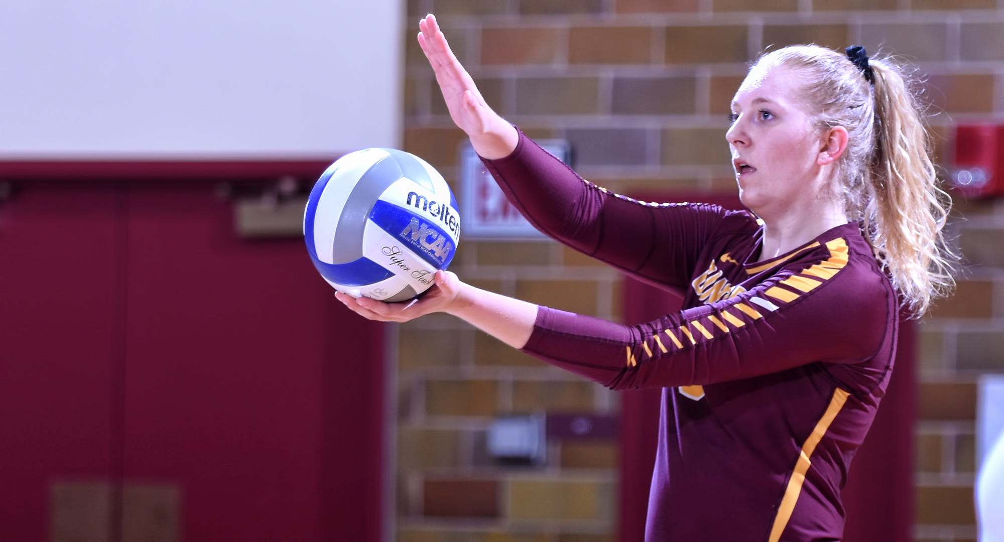 Senior Brianna Carney led the Cobbers in kills, attack percentage and blocks in the final match of her career.