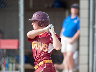Makenzi Peterson collected three hits and three RBI's in game one win at Findlay.  (Photo by Ed Hyde)
