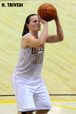 Erin Brown posted a double-double with 18 points and 11 rebounds against Boston University.