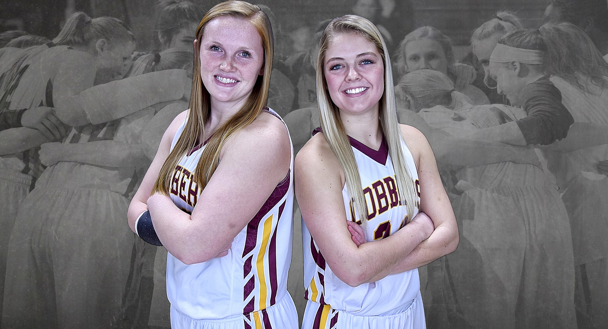 Seniors Kirstin Simmons (L) and Grace Wolhowe were honored before the Cobbers' season finale against Gustavus.