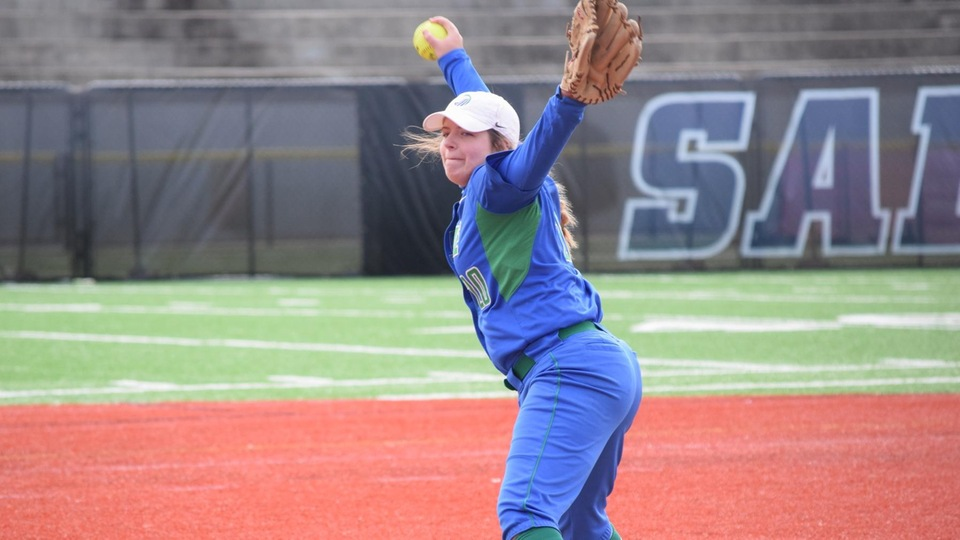 Salve Regina University sophomore pitcher Courtney Latta delivered six innings and four strikeouts while allowing only four hits and two earned runs; she batted and delivered two hits of her own. (Photo by Jennie O'Connell)