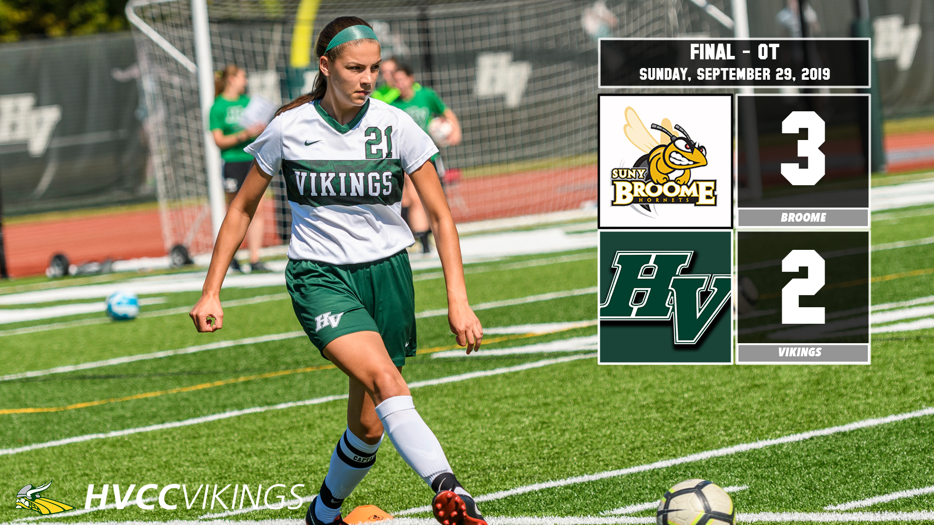 Women's soccer lost 3-2 in overtime at Broome on 9/29/19.