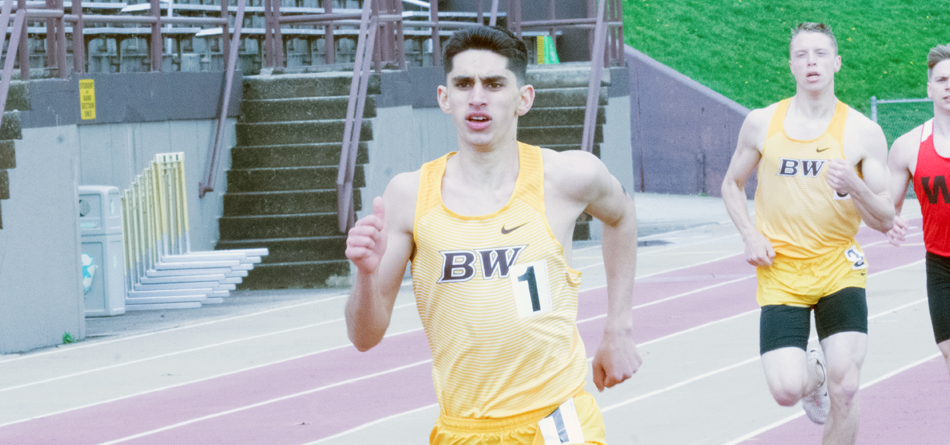 Freshman distance runner Joe Juda won the 800-meter run on his home track at the 50th Sparky Adams Invitational