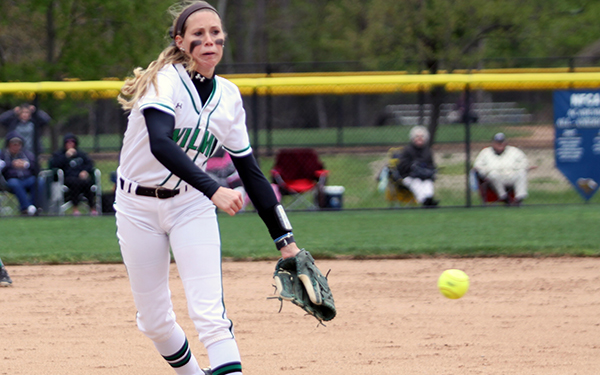 Wilmington Softball Takes CACC Tournament Opener, 1-0; Leads Bloomfield, 9-5, in Sixth Inning as Rain Halts Finish