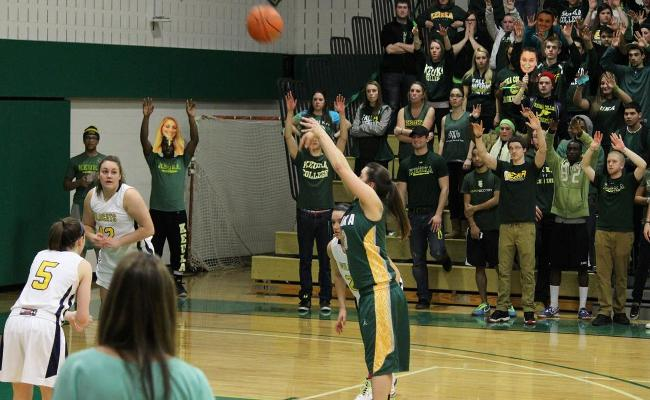 Senior Danielle Gravel scored 23 points and made 6 of 12 three-pointers to spark women's basketball into the NEAC semifinals with a thrilling, 80-77 overtime win over Cazenovia (photo courtesy of Carly Volante, Keuka College Sports Information Department).