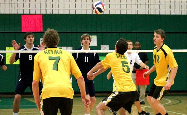 The Keuka College men's volleyball team dropped its first match of 2014, falling to Lasell (Mass.) College in three sets Friday night (photo courtesy of Taylor Smith, Keuka College Sports Information Department).