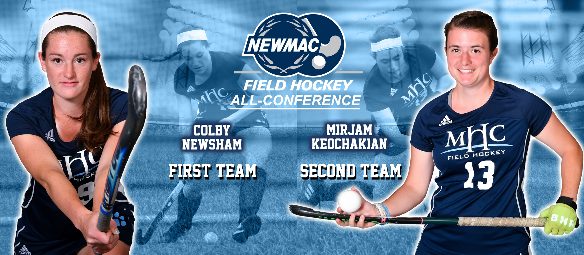 Collage photo showing Lyons field hockey seniors Colby Newsham and Mirjam Keochakian, both were named to the NEWMAC All-Conference Teams on Nov. 6, 2018. Newsham on First Team, Keochakian on Second Team.