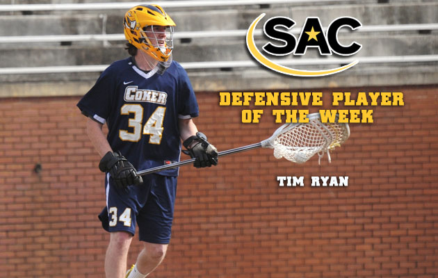 Coker's Ryan Earns Third SAC Defensive Player of the Week Honors