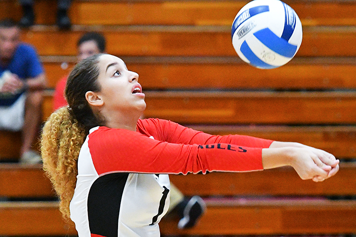 Milexa Cardona made 71 assists and 18 digs in two matches as the Eagles improved to 8-0 with wins over Santa Fe and Indian River. (Photo by Tom Hagerty, Polk State.)