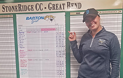 Barton women's golf player Vilma Efraimsson after a record setting 1-under par 70 to win Barton Invite