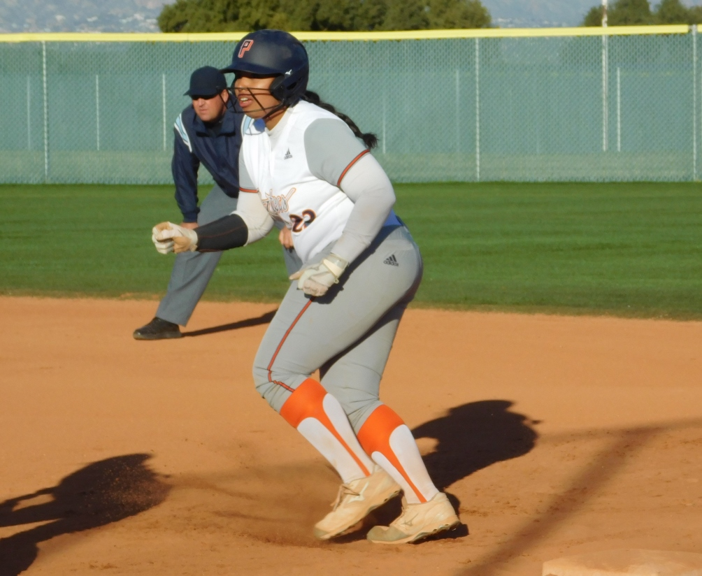 Freshman Malaealani Fraser (Salpointe Catholic HS) hit a home run for the Aztecs in the second game but they dropped the doubleheader at Mesa Community College. The Aztecs are 0-3 overall and 0-3 in ACCAC conference play. Photo by Raymond Suarez