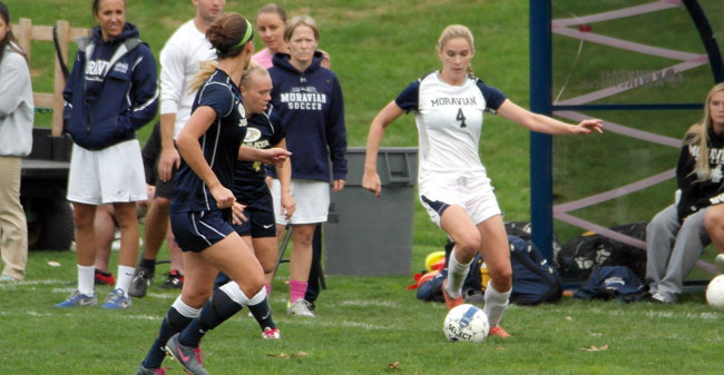 Senior forward Caroline Clark scored her second goal of the season to give Moravian a 2-0 lead in the 83rd minute.