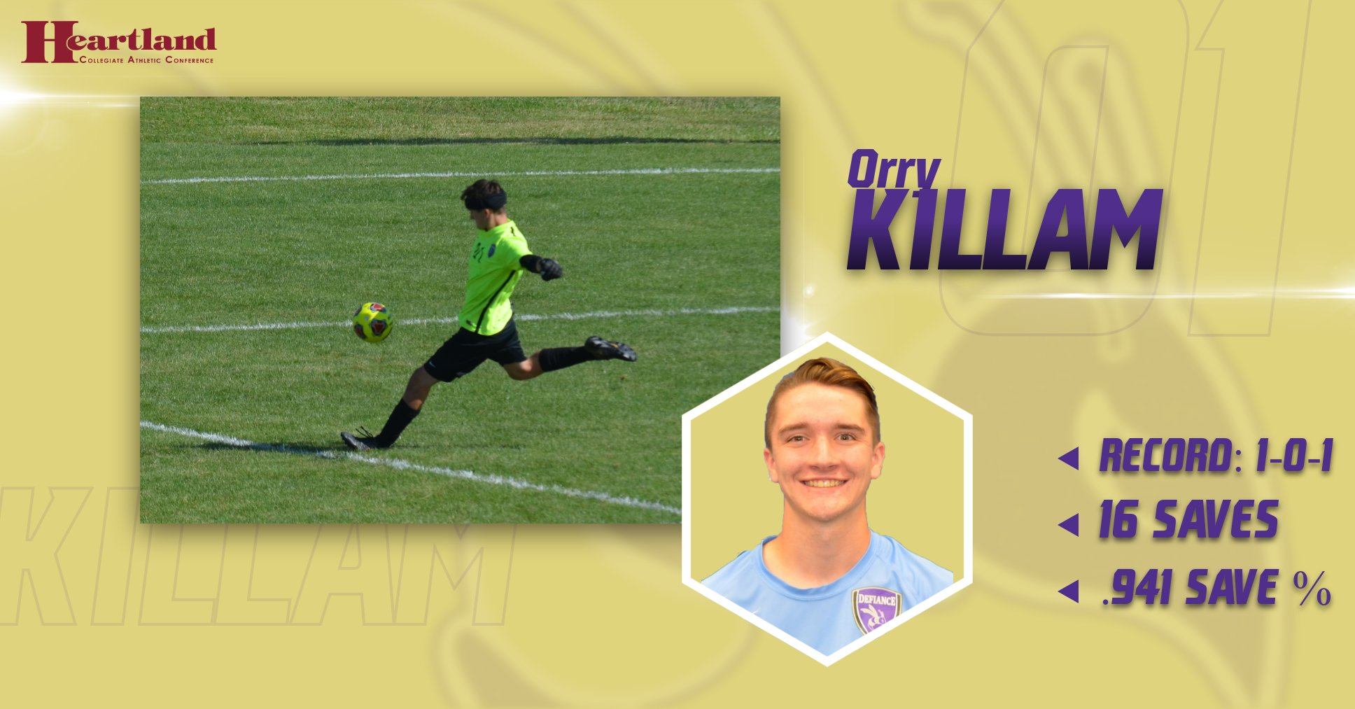 Killam Earns HCAC Defensive Player of the Week