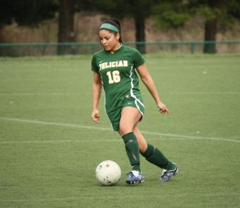 Stephanie Jimenez scored the game's only goal in a 1-0 Golden Falcon win on Sept. 3. (Photo by Linda Brodniak.)