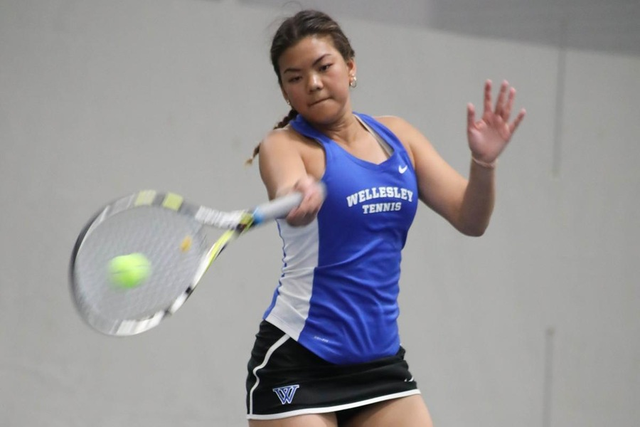 First year Lily Chu defeated Emily Roeper, 2-6, 6-2, 10-3, at No. 6 singles (Miranda Yang).