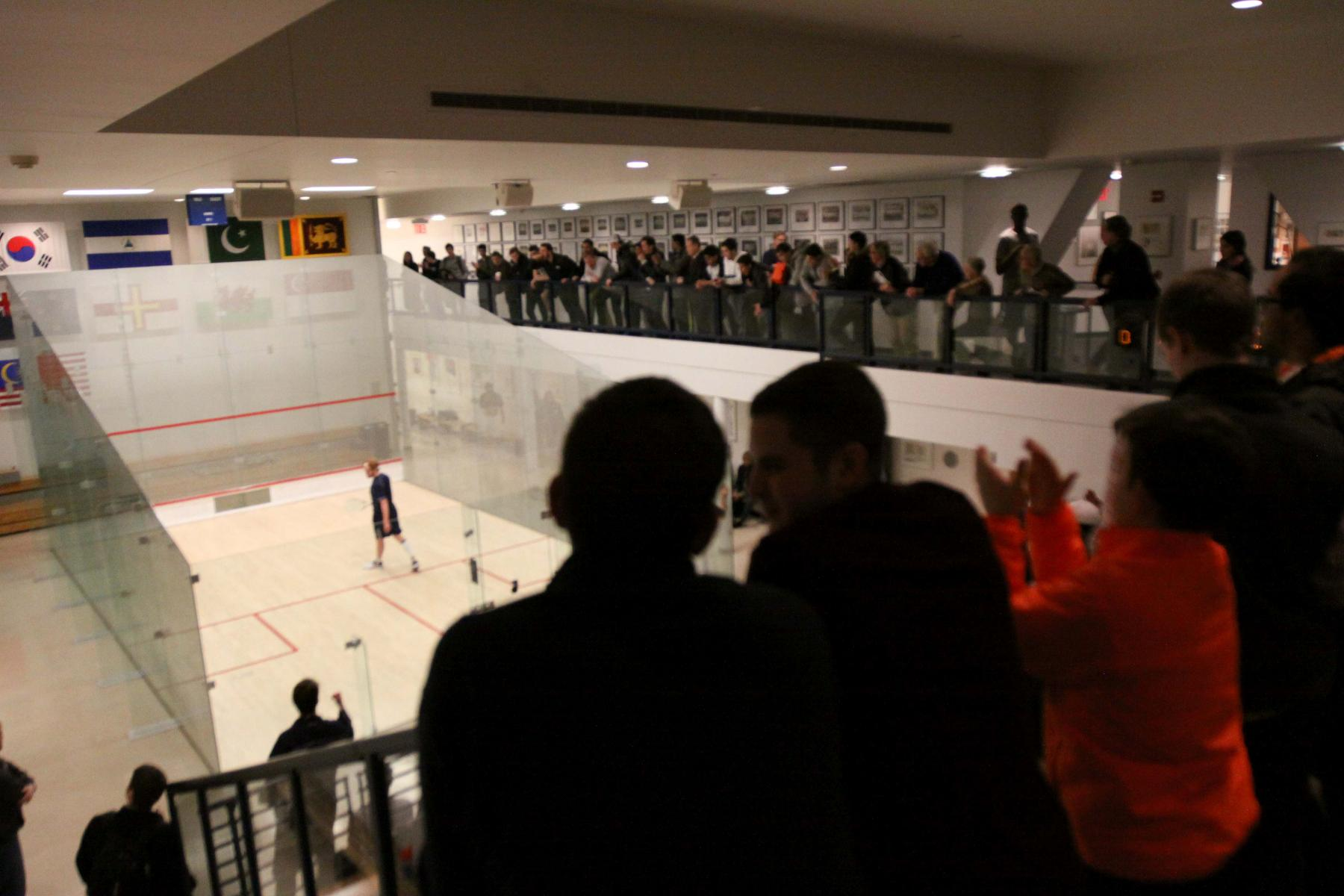 The crowd at Brady Squash Center. (photo by Sam Rubin '95, Yale Sports Publicity)