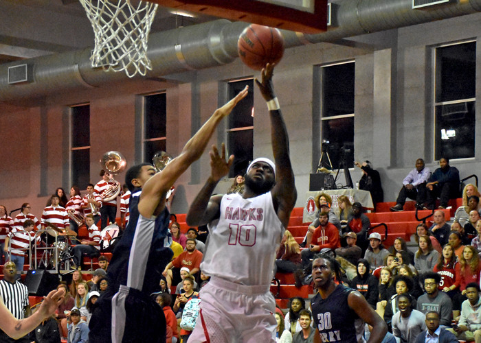 T.C. Elmore led Huntingdon with 19 points in Saturday's loss against 18th-ranked Guilford College.