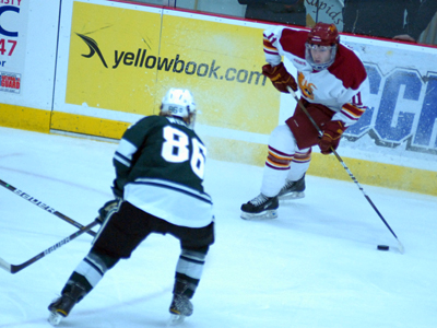 Jordie Johnston scored the game's first goal as the Bulldogs would post a 2-1 win over Michigan State.  (Photo by Joe Gorby)