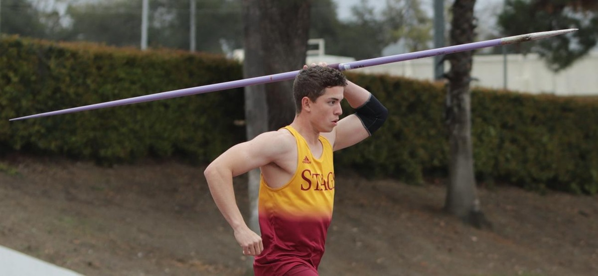 "Jordan Venglass took first in the javelin (182'8""), moving into eighth on the program's all-time list"