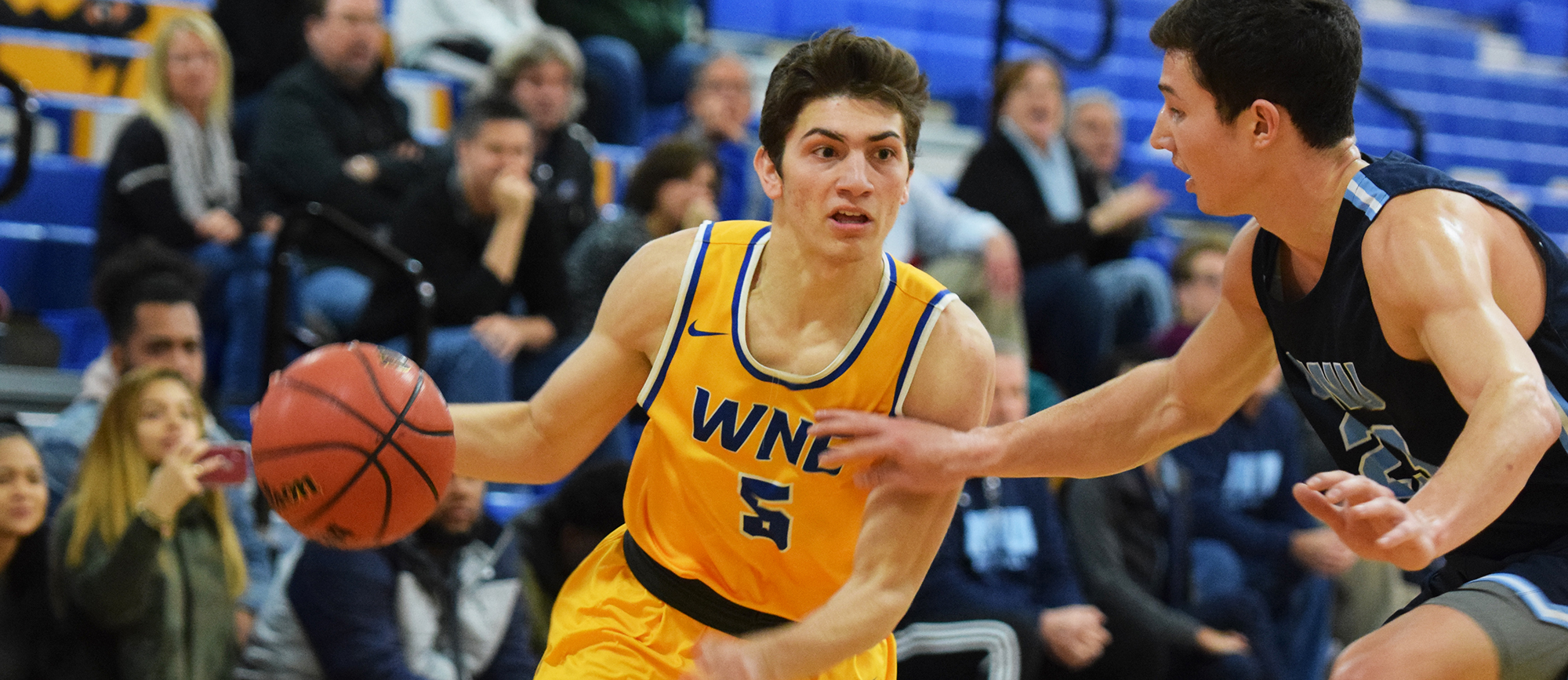 Freshman Antonio Brancato scored a season-high nine points in Western New England's 87-85 loss to Roger Williams on Wednesday. (Photo by Rachael Margossian)