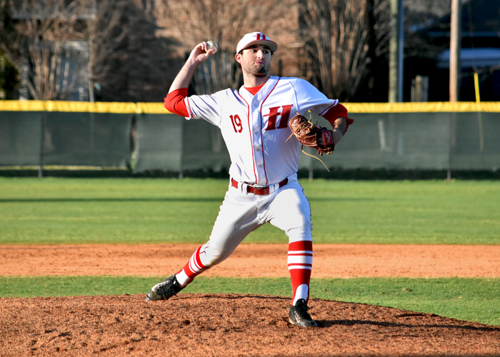 Senior Zach McGrady pitched a complete game, striking out six, walking four and allowing six hits and two runs in Friday's 5-2 win over Greensboro. (Photo by Wesley Lyle)