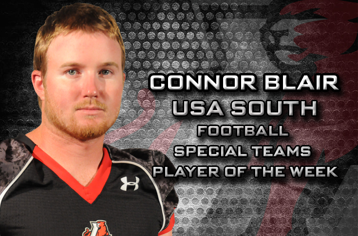 2015-16 in Review: Connor Blair named USA South Football Special Teams Player of the Week