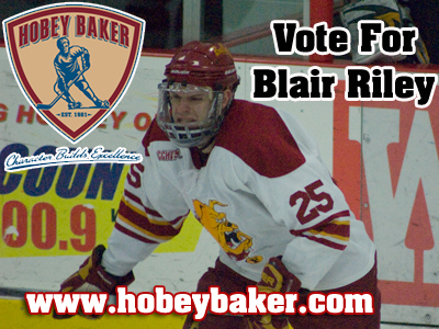 Blair Riley Among Top Vote Getters For Hobey Baker Award