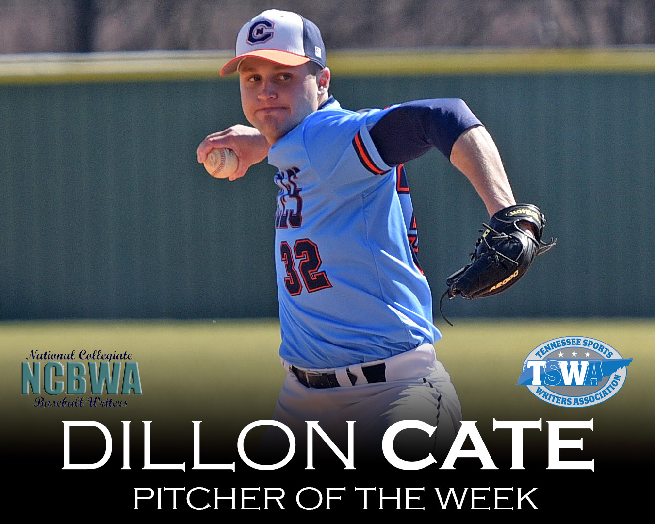 Cate cleans up with NCBWA National Pitcher of the Week award
