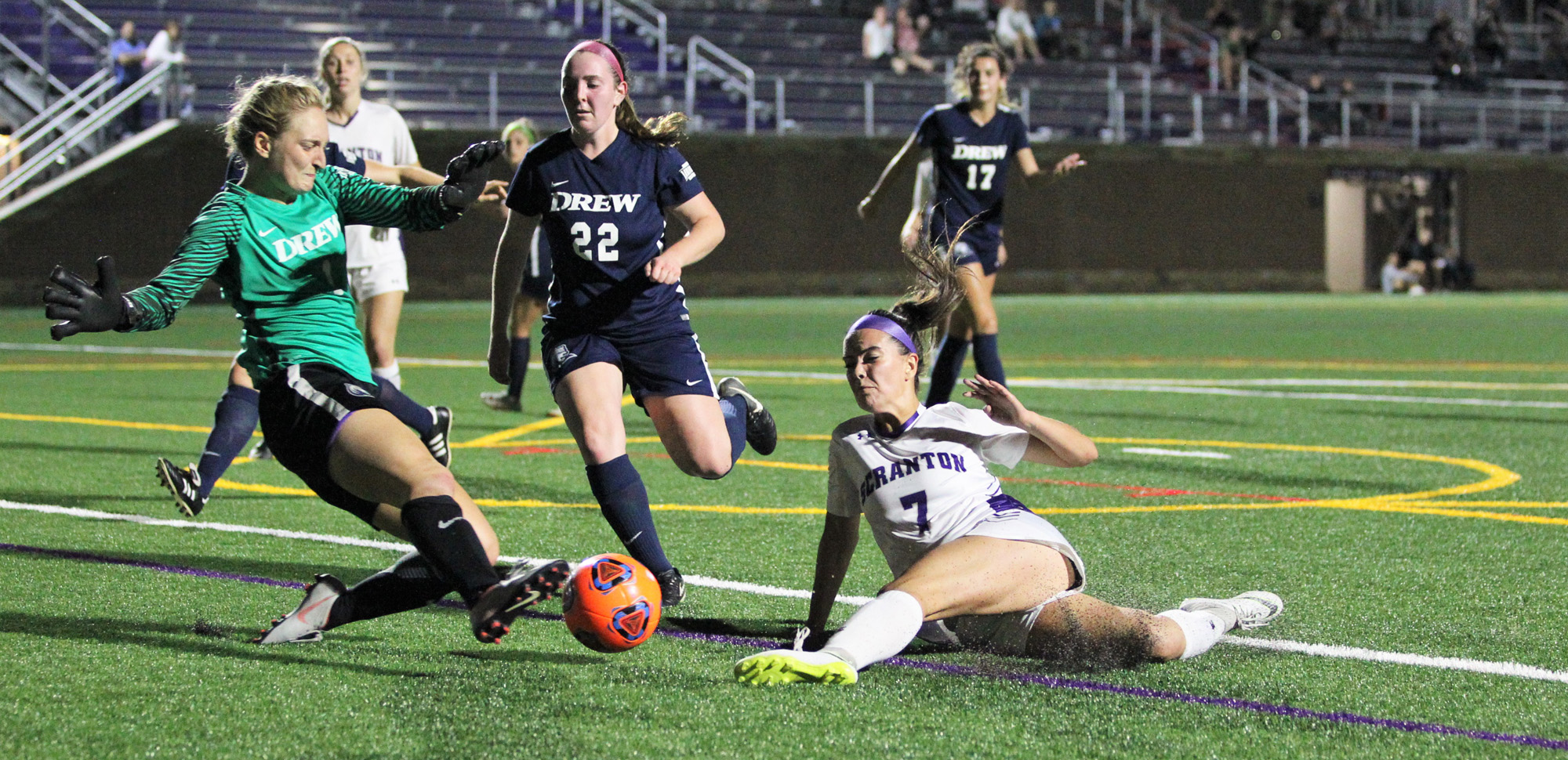 Freshman Jessica Letherbarrow had a goal and an assist in a 6-0 win over Drew on Wednesday night.