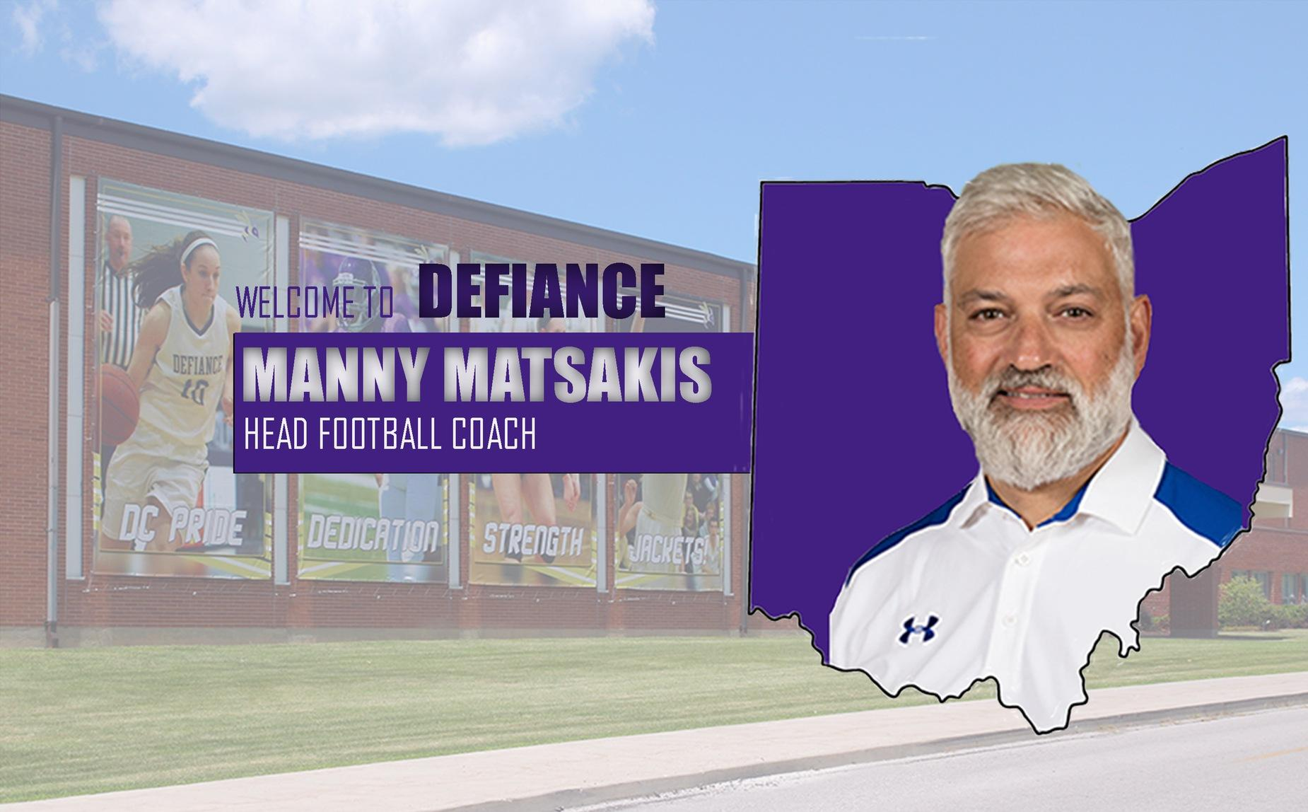 Defiance Selects Manny Matsakis as Head Football Coach