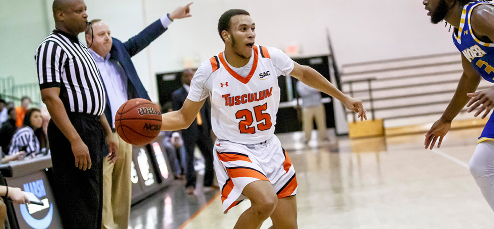 Dillon Smith scored 20 points off the bench in Tusculum's 84-61 win over Lander (photo by Chuck Williams)