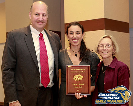 Touria Ouahid Boren with Mike Weinstock and Kitty Baldridge at GU Hall of Fame Induction Ceremony.