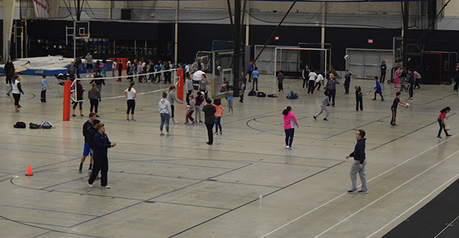 Students from William Penn Elementary School have their fall Field Day in Timothy Breidegam Fieldhouse with Moravian student-athletes.