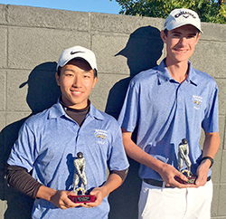 Barton men's golfers Ryotaro Tsuji (5th) and Kelby Titus (1st) at 2018 Blue Devil Fall Invitational
