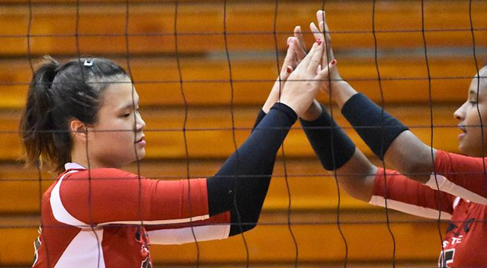 Yue Wu and Dayanna Teixeira helped the Eagles beat Santa Fe 3-0. (Photo by Tom Hagerty, Polk State.)