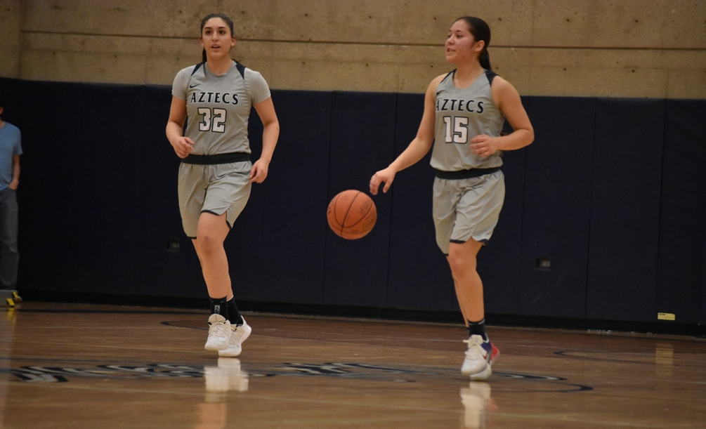 Freshmen Marlena Arroyo-Plata (Campo Verde HS) and Alyssa Perez (Marana HS) combine to score 30 points off the bench as the No. 13 ranked Aztecs women's basketball team beat Tohono O'odham Community College 88-69. The Aztecs went 33 for 35 from the foul line. They are now 15-10 overall and 11-6 in ACCAC conference play. Photo by Ben Carbajal