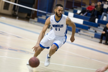 Men's basketball team battles back from 14-point second half deficit to defeat Stratford University 92-81 in 2017-2018 season-opener