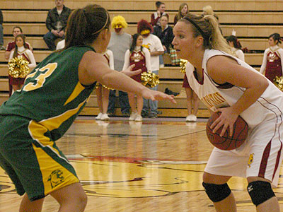 Ferris' Lindsey Pettit controls the ball against NMU (Photo by Sandy Gholston)