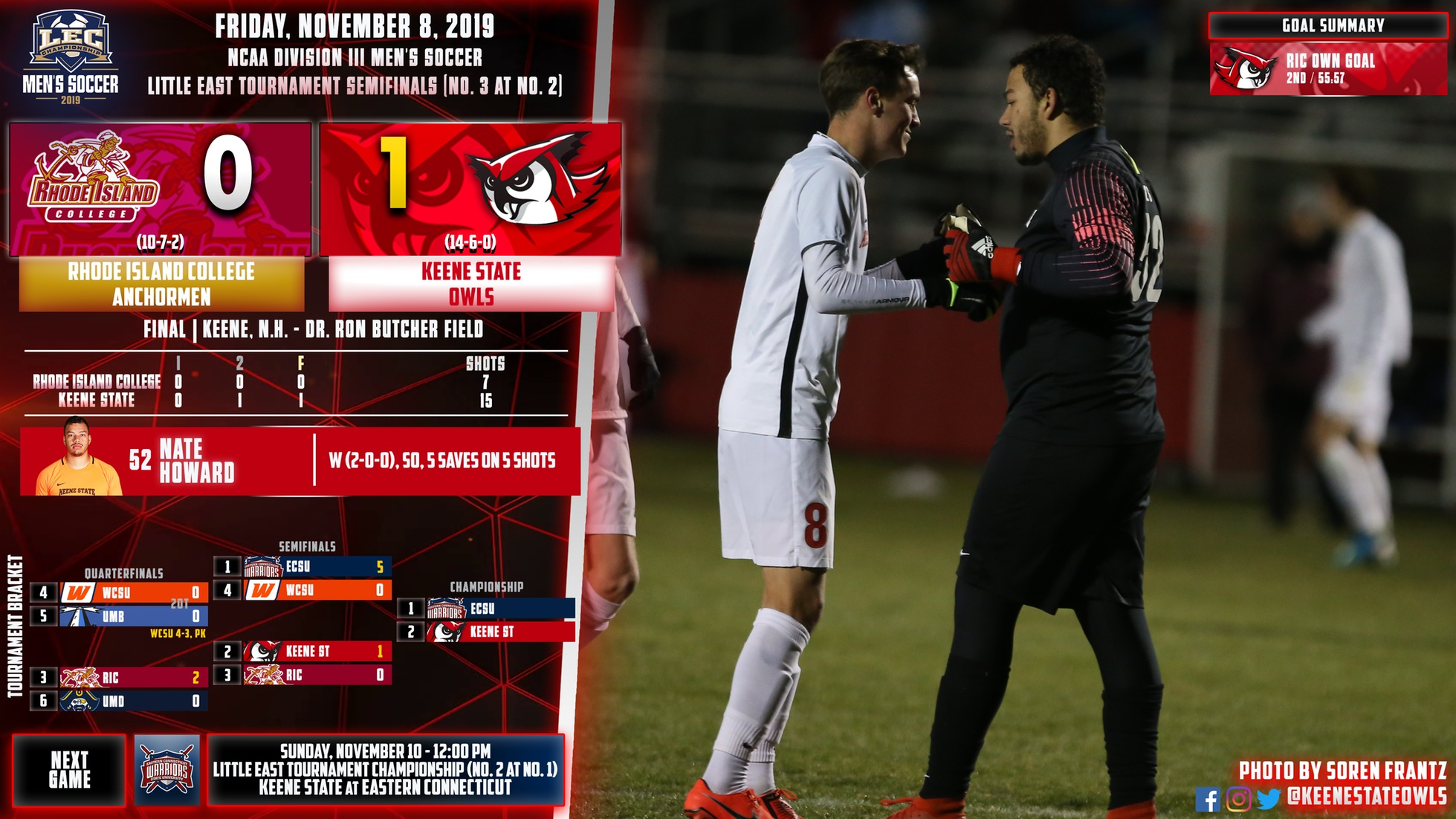 Men's Soccer Moves Into LEC Championship After Defeating Rhode Island College 1-0