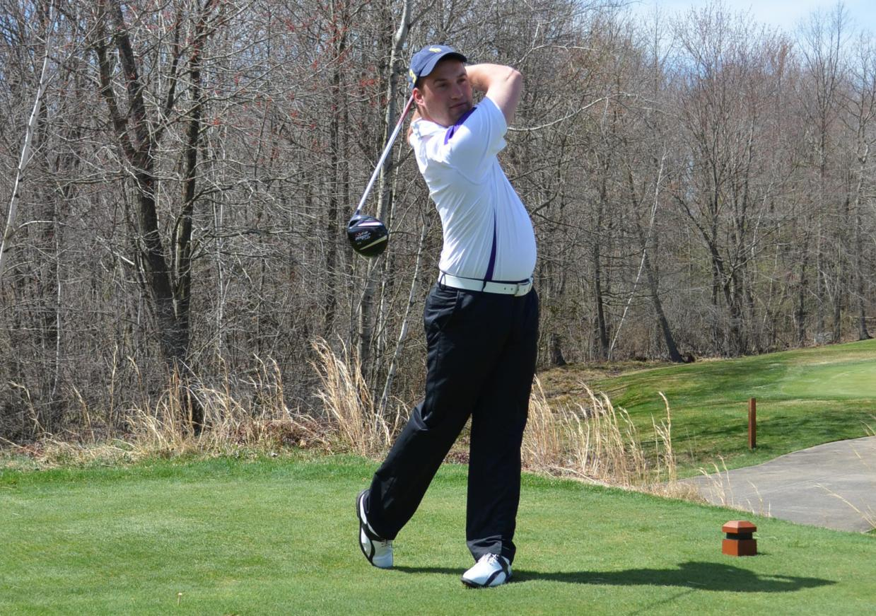 Junior Erik Meyer (pictured) and sophomore Eric Montella each shot 74 today to help the Royals move into 2nd place after the opening round of the Empire 8 Golf championships at Yahnundasis Golf Club in New Hartford, New York