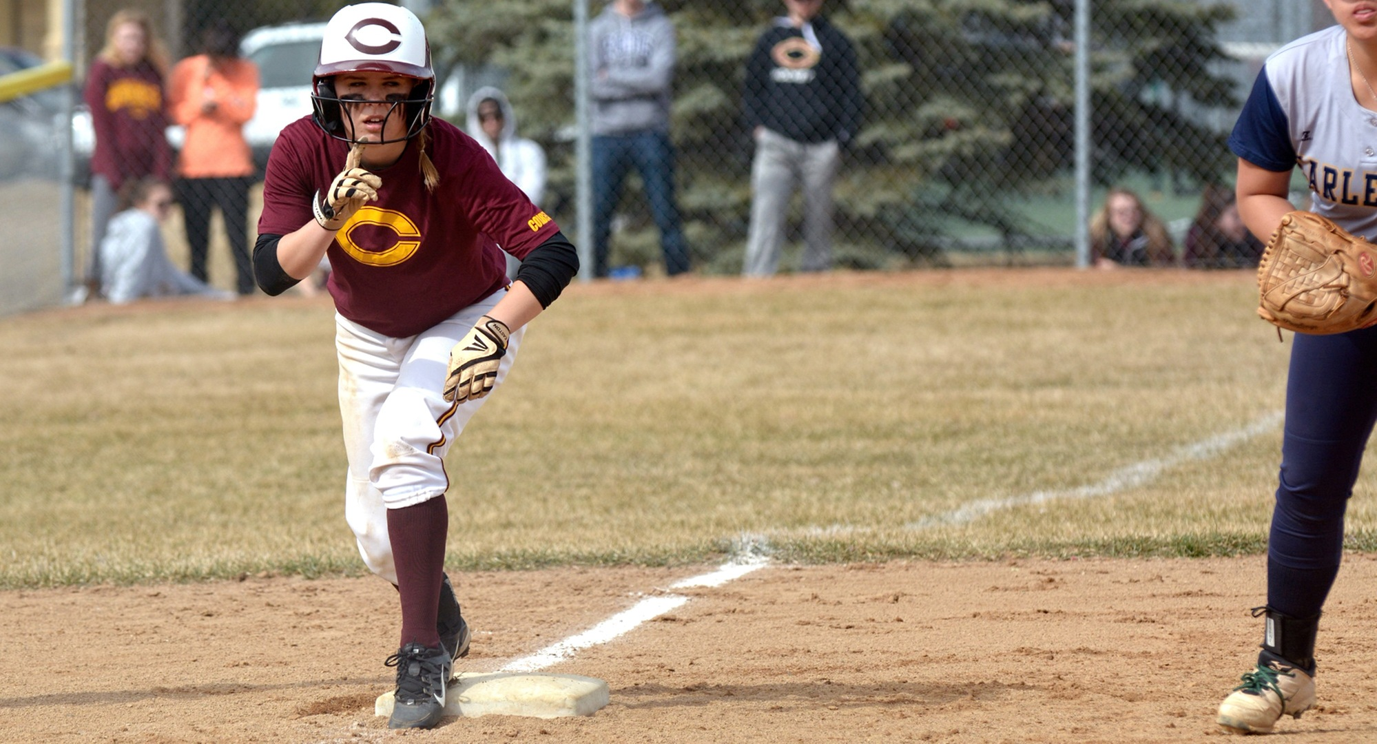 Cora Zackrison gets ready to take a lead off third base during the Cobbers doubleheader with Carleton.