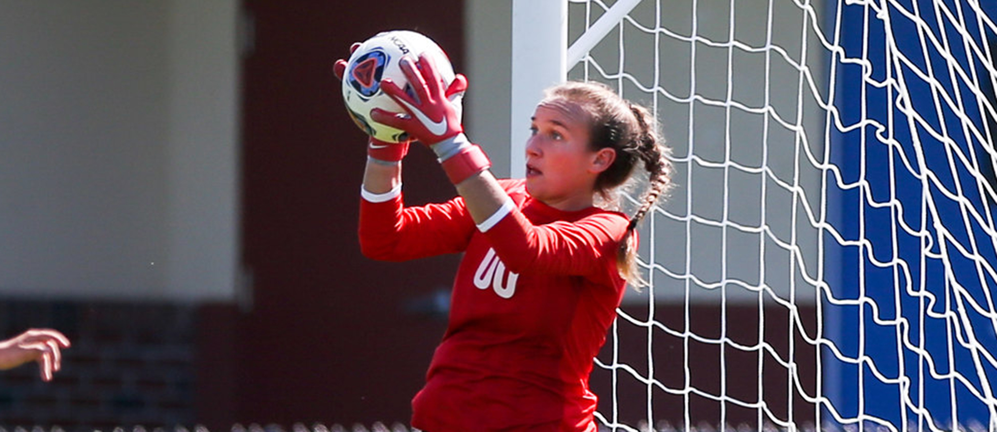 Alex Lemekha posted her 14th career shutout on Saturday as the Golden Bears tied Wentworth 0-0. (Photo by Chris Marion)