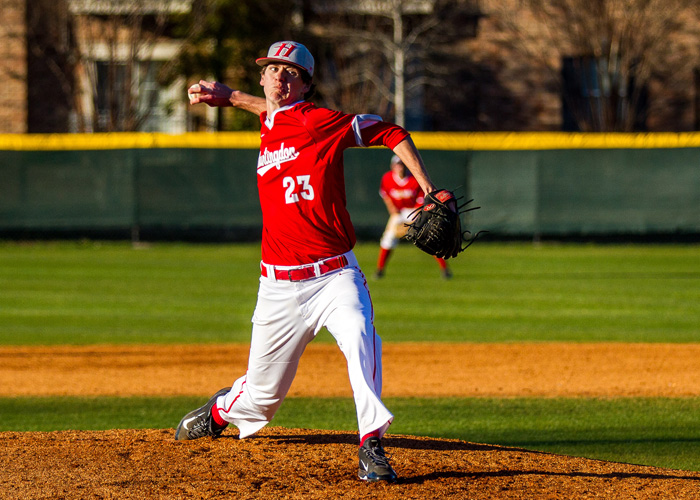 Relief pitcher Matt Gatewood struck out two, walked one and didn't allow a hit in the final 3 2/3 innings of the Hawks' 5-2 loss to Maryville on Saturday. (Photo by Christopher Morgan)