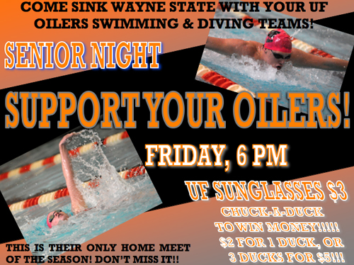 Prizes, Senior Night Highlight Oilers Swim Meet on Friday