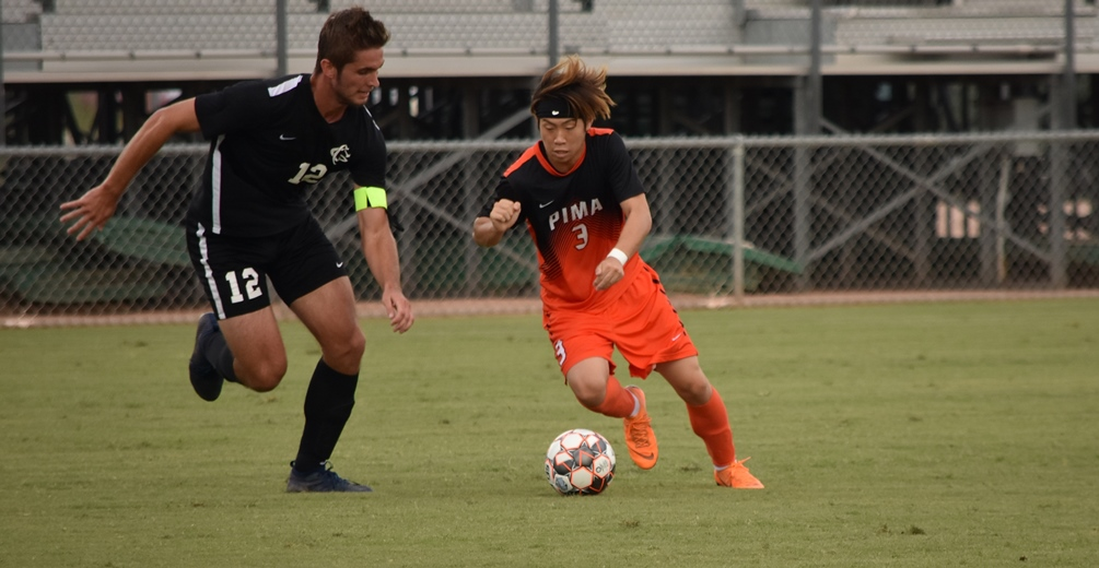 Freshman Itsuki Ishihara scored the only goal of the game in the 13th minute as the No. 1 seeded Aztecs men's soccer team beat No. 4 Yavapai College 1-0 to advance to the Region I, Division I Finals. The Aztecs play Chandler-Gilbert Community College on Saturday at 7:30 p.m. The game will be at Kino North Stadium. Photo by Ben Carbajal