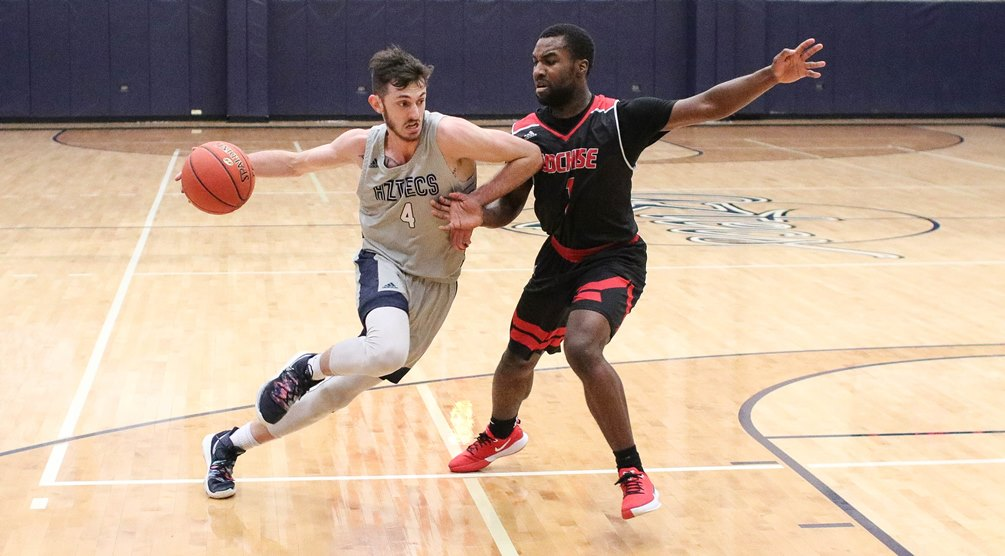 Sophomore Cole Gerken (Ironwood Ridge HS) was one of three Aztecs to post double-doubles as he finished with 15 points and 10 rebounds in Pima's 85-80 win at Tohono O'odham Community College. The Aztecs have won four straight and improved to 15-10 overall and 9-8 in ACCAC conference play. Photo by Stephanie Van Latum