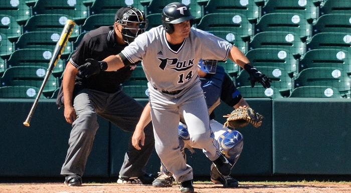 Matt Piatt drove in the winning run as the Eagles rallied in the ninth inning to beat St. Petersburg. (Photo by Tom Hagerty, Polk State.)